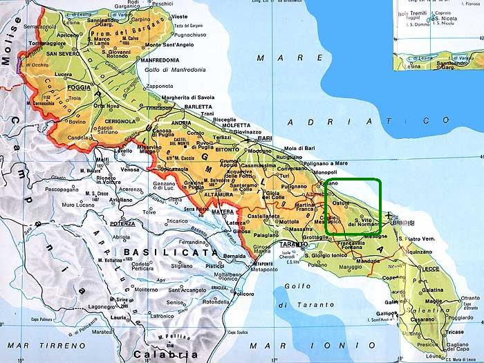 Cartina Puglia Carovigno.Il Territorio